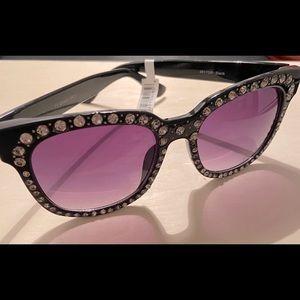 NY Black & Rhinestones Studded Large Sunglasses